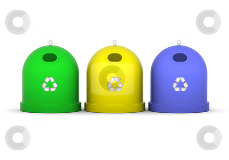 Recycle Bins stock photo, Green, yellow and blue recycle bins in a white background by Nuno Andre