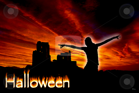 Halloween stock photo, Ghost against the ruin of a middle Age castle. by Serge VILLA