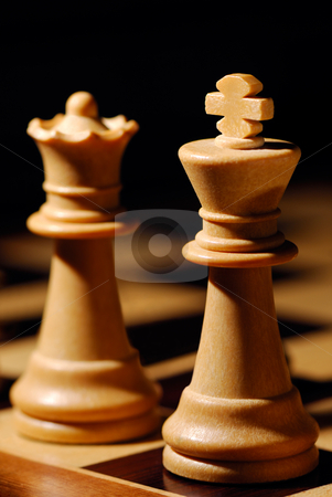 King and Queen stock photo, Image shows a white chess King and Queen by Andreas Karelias