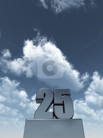 Twenty five stock photo, Metal twenty five - 25 - in front of cloudy sky - 3d illustration by J?