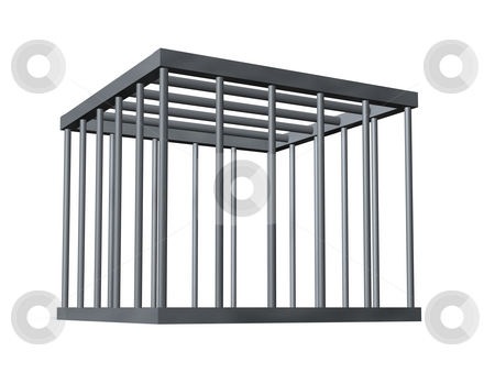 Cage stock photo, Cage on white background - 3d illustration by J?