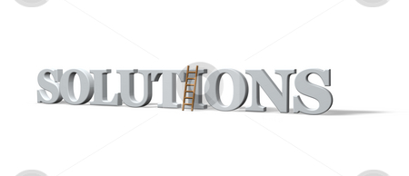 Solutions stock photo, The word solutions and a ladder on white background - 3d illustration by J?