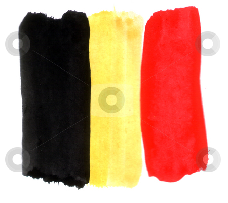 Belgium stock photo, Painted belgien colors on white background - black, red, yellow by J?