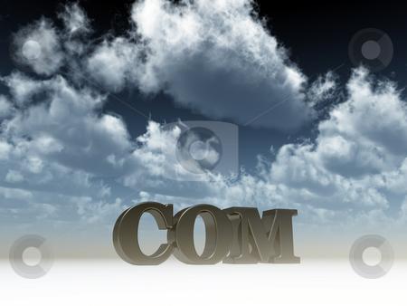 Com domain stock photo, Com domain under cloudy blue sky - 3d illustration by J?