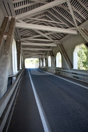 Grave Creek Bridge stock photo, Grave Creek covered span at Sunny Valley, about 15 miles north of Grants Pass, can be seen by motorists traveling Interstate 5. by Mariusz Jurgielewicz