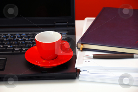 Business still life stock photo, Red cup over black notebook on office desk still life by Julija Sapic
