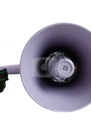 Loudspeaker stock photo, Closeup of a loudspeaker or megaphone, isolated against a white background by Richard Nelson