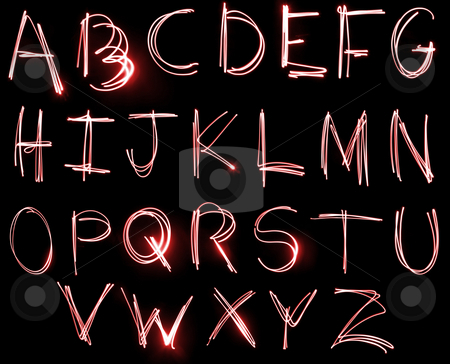Neon Alphabet set stock photo, An abstract illustration of the alphabet created with light. by Travis Manley