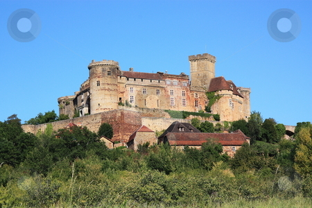 Chateau Castelnau Bretenoux stock photo, Chateau Castelnau-Bretenoux situated in the commune of Prudhomat, Lot, France, is an impressive military chateau begun in 1100 and enlarged during the 12th to 15thC as it was adapted to artillery by Gozzoli
