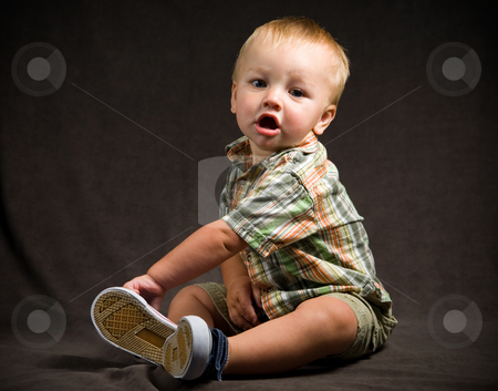 Cute Baby Boy stock photo, A portrait of a cute one year old baby boy. by Travis Manley