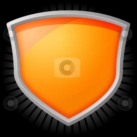 Shield Star stock photo, Orange shield with silver frame on a star black background by Henrik Lehnerer