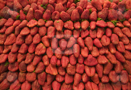 Vibrant Strawberries stock photo, A pattern of strawberries that could be used as a wallpaper. by Stephen Kiernan
