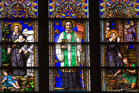 Saint Peter Stained Glass Close St. Patrick's Cathedral New York stock photo, Saint Paul Stained Glass Saint Patrick's Cathedral New York by William Perry