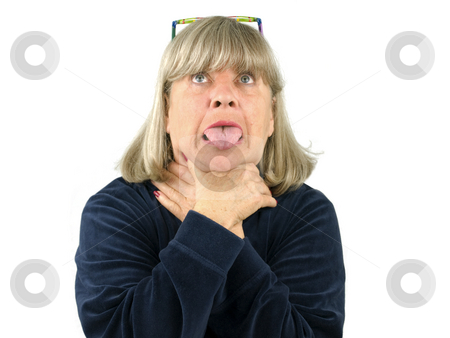 Senior woman Choking stock photo, Senior woman choking on a white background by John Teeter