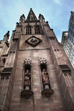 Matthew Mark Statues Trinity Church New York City Outside stock photo, Statues of Matthew and Mark by Farmer and Brintley in 1901 Southern Side of Trinity Church New York City by William Perry