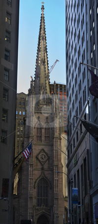Trinity Church New York City Outside from Wall Street stock photo, Trinity Church New York City Outside from Wall Street by William Perry
