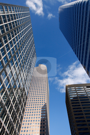 Tall Office Buildings stock photo, Four tall office buildings in a downtown setting by Sharon Arnoldi