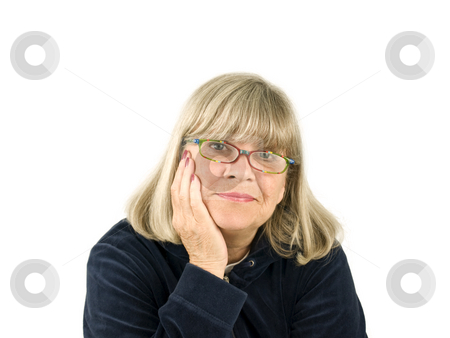 Happy Senior Woman stock photo, Happy Senior woman on a white background by John Teeter