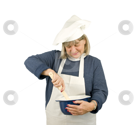 Happy Senior Chef stock photo, Happy Senior Chef on a white background by John Teeter