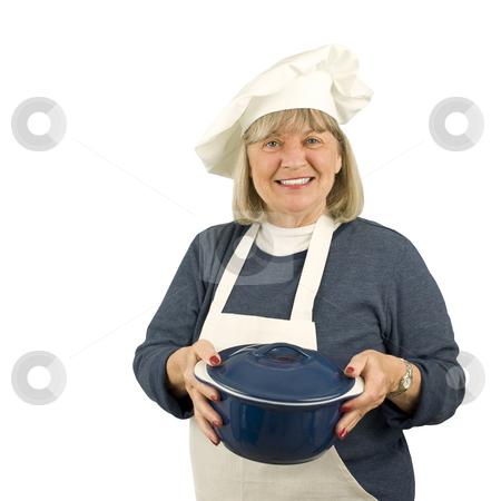Happy Senior Chef stock photo, Happy Senior Chef on a white background by John Teeter