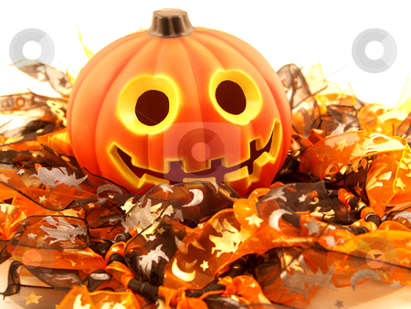 Halloween theme stock photo, Happy Halloween pumpkin smiling on white by Cora Reed