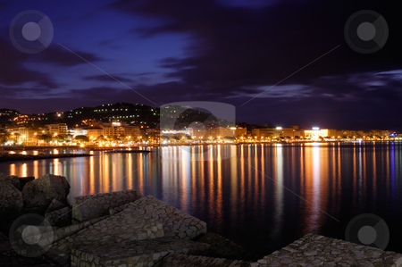 The city of Cannes, France, at night stock photo, Image shows the cosmopolitan city of Cannes, in the French Riviera, shot right before dawn by Andreas Karelias