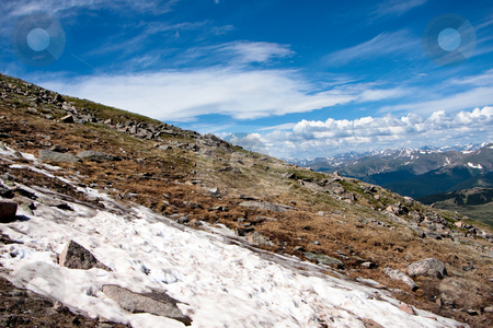 Last bits of snow stock photo, Snow near the top of a Colorado 14,000 ft mountain by Sharon Arnoldi