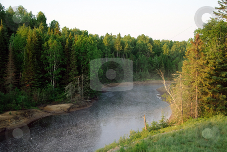 Northern River stock photo, Northern river early in the morning with fog coming out of it by Alain Turgeon