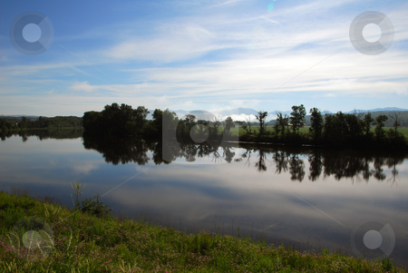 Summer Landscape stock photo, Picture of a calm river on a Summer morning by Alain Turgeon