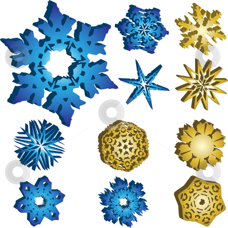Set of 11 3D Snowflakes stock vector clipart, 11 3D Snowflakes Vectors in Blue and Golden Colors. by Augusto Cabral Graphiste Rennes