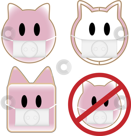Swine Flu Pigs stock vector clipart, 4 pig faces with swine flu by Augusto Cabral Graphiste Rennes