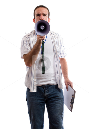 Strict Coach stock photo, A strict coach is using his megaphone to yell at the viewer, isolated against a white background by Richard Nelson