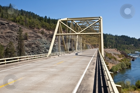 Rogue River Bridge stock photo, Steel bridge on Rogue River near Merlin, Oregon by Mariusz Jurgielewicz