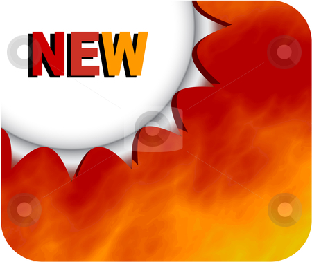 Burning new badge stock vector clipart, Metallic badge with smoke or fire background for new or other advertisement by danielboom