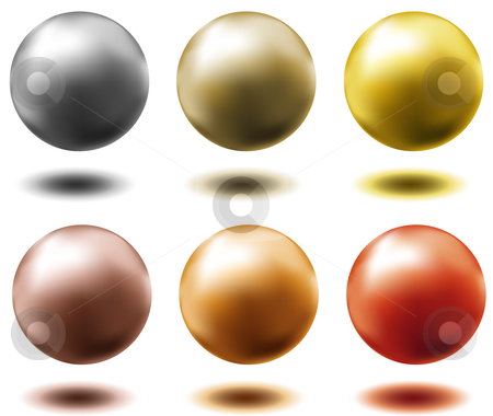 Set of different metallic spheres stock vector clipart, Set of all metal balls of gold silver brass copper platinum by danielboom