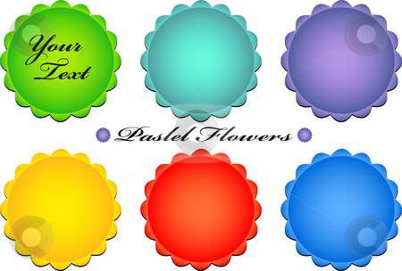 Vector pastel flower buttons stock vector clipart, Vector illustration of pastel color floral icons - simple and clear by danielboom
