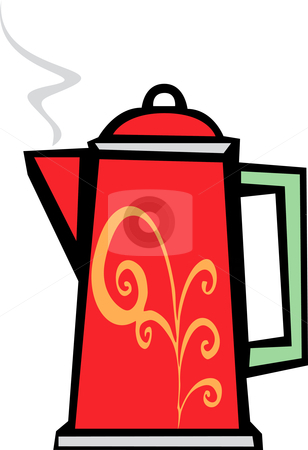 Red Swirl Coffee Pot stock vector clipart, Retro 70s image of a psychedelic coffee pot in red. by Jeffrey Thompson