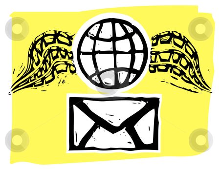 Airmail stock vector clipart, Rough woodcut style envelope and winged globe airmail style. by Jeffrey Thompson