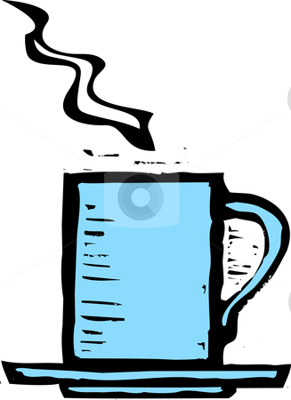 Rough Coffee Mug stock vector clipart, Rough woodcut image of a blue coffee mug. by Jeffrey Thompson
