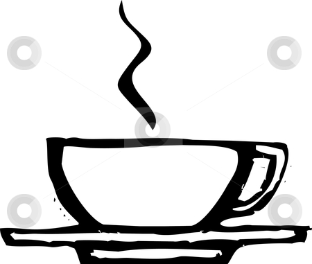 Rough Coffee Cupp stock vector clipart, Rough woodcut image of a coffee or espresso cup. by Jeffrey Thompson