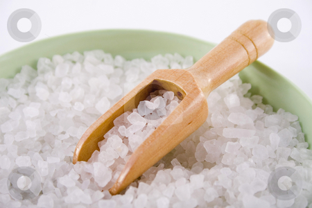 Bath salts stock photo, Bath salts and small wooden shovel in a green bowl by Jodie Johnson