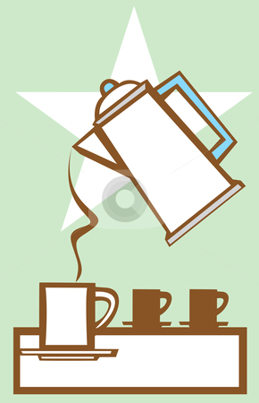 Pouring Coffee Pot #1 stock vector clipart, Coffee pot pours into mug with star motif in background. by Jeffrey Thompson