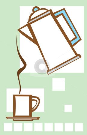 Pouring Coffee Pot #2 stock vector clipart, Coffee pot pours into mug with deco geometric motif in background. by Jeffrey Thompson