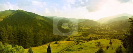 Panorama of Mokra Gora stock photo, Panoramic image of Mokra Gora, famous touristic resort in Serbia. by Ivan Paunovic