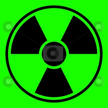 Radiation Warning Sign stock photo, Round radiation warning sign on green background by Henrik Lehnerer