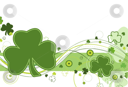 Shamrock Breeze stock vector clipart, Shamrocks and abstract design on a white background. by x7vector