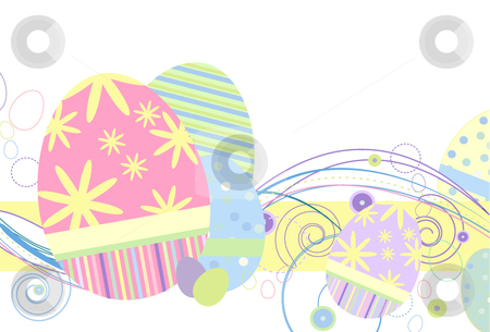 Easter Eggs in Traditional Pastels stock vector clipart, Easter Eggs in Traditional Pastels and abstract design on a white background by x7vector