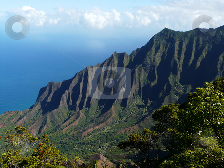 Na Pali coast stock photo, View of the Kalalau Valley along the Na Pali coast on the north shore of Kauai, Hawaii by Peter Van veldhoven