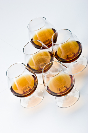 Cognac stock photo, Alcohol drink sereis: five bocal with cognac by Gennady Kravetsky