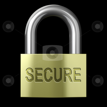 Secure Lock stock photo, Closed Secure Lock on a black background by John Teeter